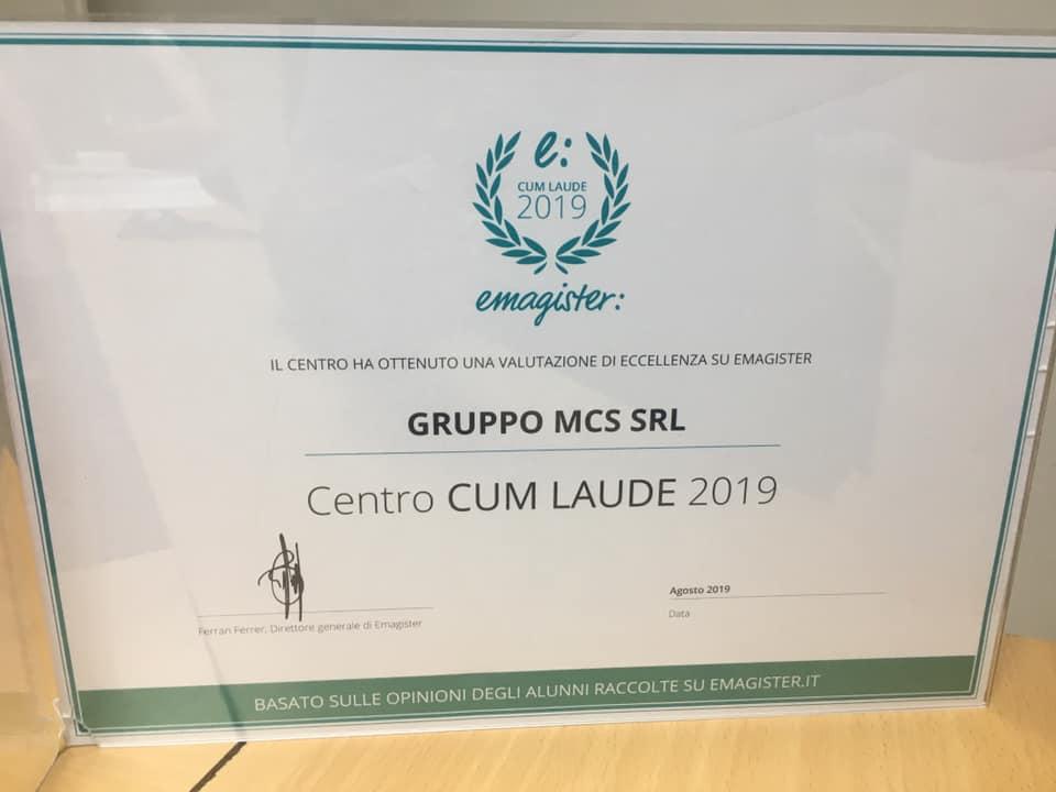 Riconoscimento ottenuto nel 2019 dal Gruppo MCS sito a Roma Piazza TUscolo 13
